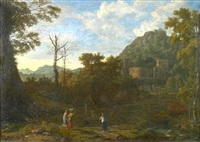 figures by a river in an italianate landscape (+ figures resting in a landscape with a village beyond; pair) by johannes (jan) glauber
