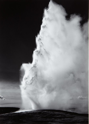 old faithful geyser yellowstone national park wyoming by ansel adams