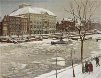 gezicht op theather carre, winter by henk melgers