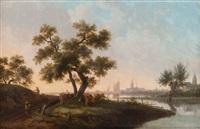 paysage fluvial en hollande animé de bétail, une ville à l'arrière-plan by frans swagers