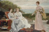 the ramparts, walmer castle; portraits of the countess granville, and the ladies victoria and mary leveson-gower by charles edward perugini