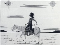 untitled (horse, rider and sky figure) by edison smith