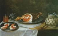 nature morte au jambon et pichet sur un entablement by alexander adriaenssen