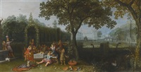 an elegant party in an ornate palace garden by david vinckboons
