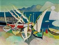 segelboote auf südländischer küste by werner augustiner