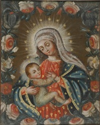 madonna and child within a garland of roses by peruvian school-cuzco (19)