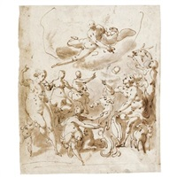 an allegorical subject, possibly commemorating a marriage, with jupiter above and various figures below, one holding a shield by jacopo zucchi