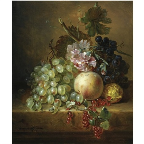 a still life with grapes a peach berries and flowers by adriana johanna haanen