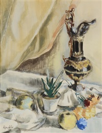 still life with fruit and wine goblet by egon adler
