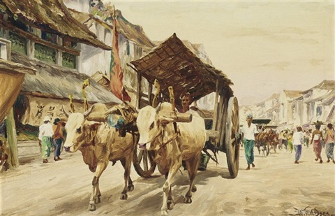 ox cart in a street by willem van der does