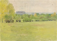 landscape with a castle in the distance by theodore robinson