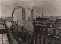 vista de la ciudad vieja calle cerrito con el cerro y capurro al fondo by anhelo hernandez