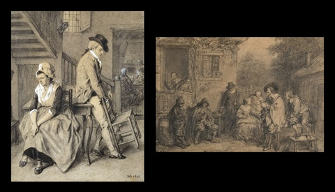 le contrat de mariage david teniers fait une étude de musiciens black chalk and brush smllr 2 works by jean baptiste madou