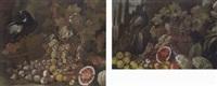 coppia di nature morte con uccelli e frutta by giusto lionelli