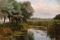 row of trees near the water with a view over the fields by jan willem van borselen
