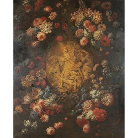 still life of flowers surrounding a carved relief by mario nuzzi