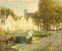 canal scene with dappled sunlight by ossip l. linde