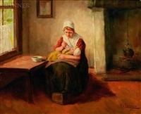 feeding baby by hendrick j..f. van langen