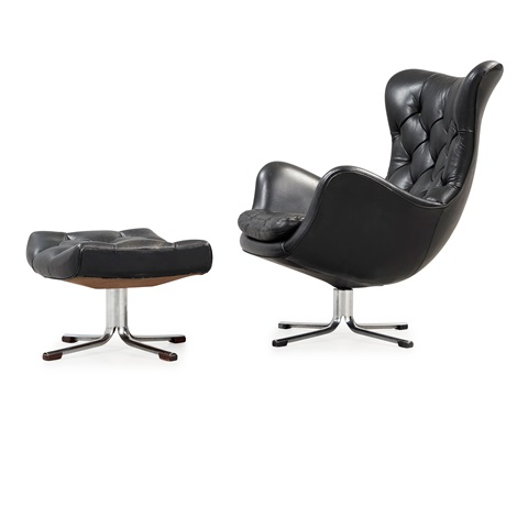 Remarkable A Gustav Axel Berg Status Black Leather Easy Chair With Inzonedesignstudio Interior Chair Design Inzonedesignstudiocom