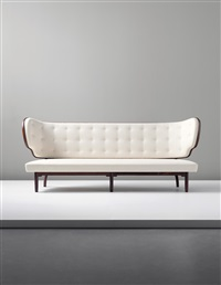 important and rare sofa (from the royal suite, radiohuset (national broadcasting house), copenhagen) by vilhelm lauritzen