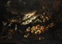 nature morte aux poissons et champignons by felice boselli