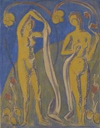 femmes nues sur fonds bleus by émile bernard