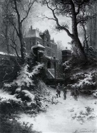 huntsmen before a schloss in winter by e. lermontoff