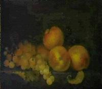 peches et raisins sur un entablement by paul liegeois