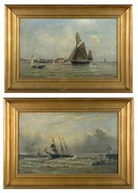 bateau rentrant au port par temps calme et par tempête (pair) by paul charles e. gaillard lepinay