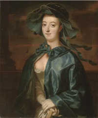 portrait of a lady, half-length, in a blue silk cape and hat by henry robert morland