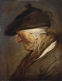 a study of an elderly lady, head and shoulders, en profile, looking to the left, wearing a bonnet with a white headdress underneath and a coat with a fur collar by jan van de venne