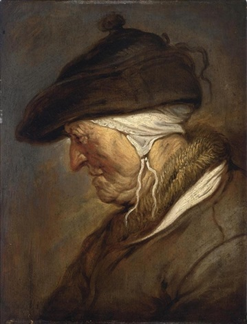 a study of an elderly lady head and shoulders en profile looking to the left wearing a bonnet with a white headdress underneath and a coat with a fur collar by jan van de venne