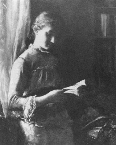 girl reading by a window by percival de luce