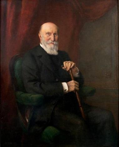 homme de qualité assis tenant sa canne by fernand cormon