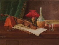 still life with wine bottle, violin, book and lamp by nicholas alden brooks