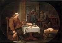 a peasant at dinner in a tavern by cornelisz mahu