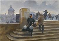 modiste sur le pont des arts by jean béraud