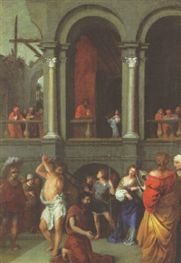 the beheading of john the baptist, with salome receiving the head from herod on a gallery beyond by bertholet i flemal