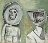 two people in space outfits by 'abd al-hadi el-gazzar