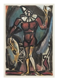 le clown a la grosse caisse (from cirque) by georges rouault