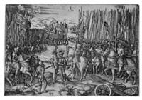 zwei armeen, die sich auf den kampf vorbereiten (after agostino veneziano) by hieronymus hopfer