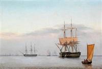 et russisk linieskib og en fregat by fredrich theodor kloss