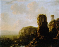 travellers by classical ruins in an italianate landscape by carl ferdinand fabritius