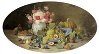 großes, dekoratives früchtestilleben mit einem nelkenstrauß in einer vase by alois zabehlicky