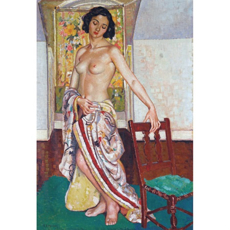 semi-draped nude in the artist's studio by randolph stanley hewton