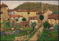 mediterranean village (recto) / river landscape sketch (verso) by charles herbert eastlake