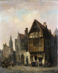 vue d'une ville animée de personnages by ivo ambroise vermeersch