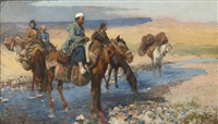 horses at the ford - persia by edwin lord weeks