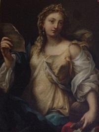 reine tenant une partition dans la main droite, une flûte dans la main gauche by anonymous-italian-florentine (17)
