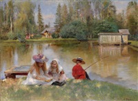 children by the lake by konstantin egorovich makovsky
